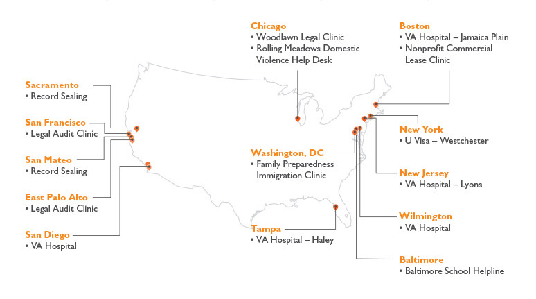Pro bono clinics created by DLA Piper (2010–2017)